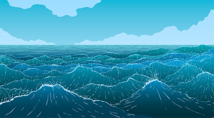 Vector large ocean waves