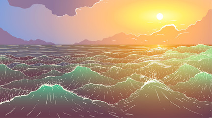 Vector large ocean waves at sunset