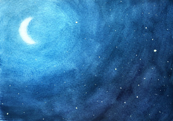 Moon among stars at night in blue watercolor background.