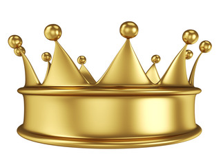 Shiny gold crown isolated on white