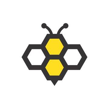 bee logo. honey icon. fly symbol. vector eps 08.