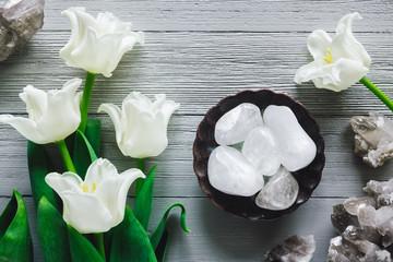 White Tulips with Quartz Crystals