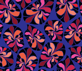 African Inspired Abstract Leaves Purple Blue Black Red Orange Coral  Seamless Pattern. Great For Fabric