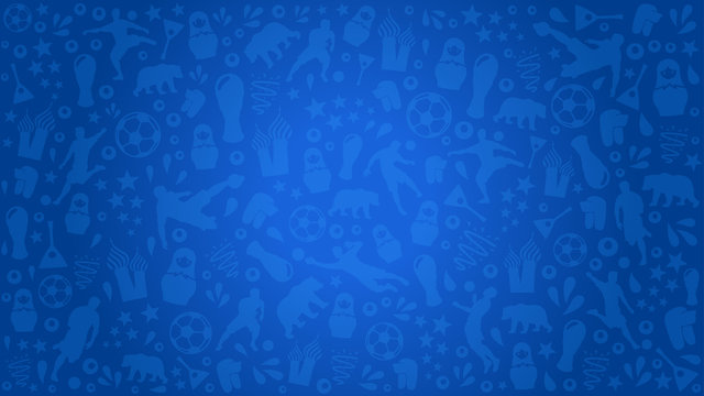 Blue background football world soccer cup 2018 at Russia, blue pattern