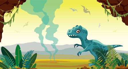 Prehistoric nature - tyrannosaur, fern and gayser.