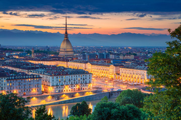 Turin. Aerial cityscape image of Turin, Italy during sunset.
