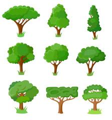 Set of decorative stylized tree