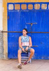 A boy posing in the city of Marrakech