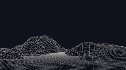 Abstract vector wireframe landscape. Abstract mesh landscapes. Polygonal mountains. Vector illustration. Wall mural