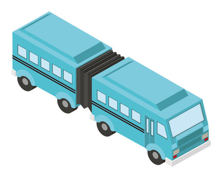 articulated bus transport isometric icon vector illustration design