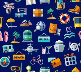 Travel, vacation, Hiking, leisure, seamless pattern, colorful, blue. Different types of holidays and ways of travelling. Vector, color background. Colored flat drawings on the blue field.