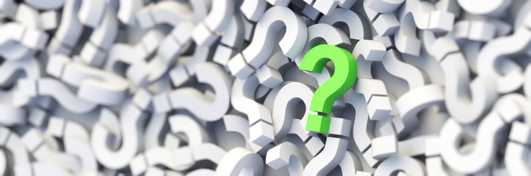 Green question mark on a background of white signs. 3D Rendering