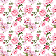 watercolor drawings of peonies. seamless pattern