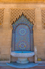 Morocco Decorated fountain with mosaic tiles in Rabat