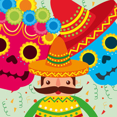 mexican man with hat and poncho skulls flowers decoration vector illustration