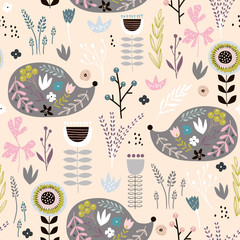 Seamless pattern hedgehogs with floral elements, branches. Creative woodland background. Perfect for kids apparel,fabric, textile, nursery decoration,wrapping paper.Vector Illustration