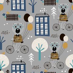 Bezszwowy dziecięcy wzór z ślicznymi niedźwiedziami jeździć na rowerze w mieście. Twórcza tekstura dzieci na tkaniny, opakowania, tekstylia, tapety, odzież. Ilustracji wektorowych - 207447224