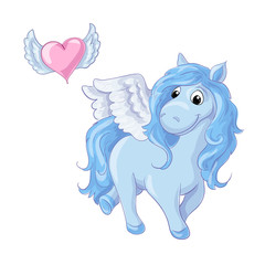 Cute cartoon blue pegasus. Vector illustration
