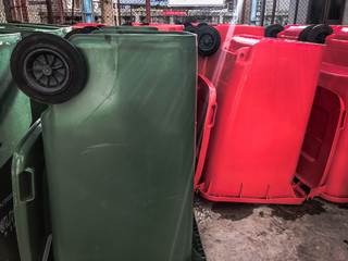 Green, red bins , Recycling bins , Public trash