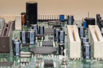 Electronic components are mounted on the device board Chips diodes capacitors chokes