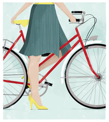 Woman on a bicycle in a summer skirt and high heels