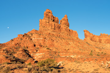 Valley of the Gods is located in southern Utah  near Bears Ears National Monument.  Early morning Sunrise with Moon.