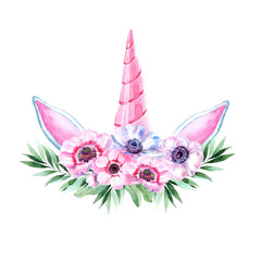 Watercolor head of unicorn with floral wreath on white background.