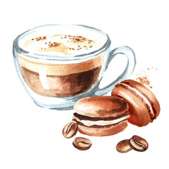 Coffee cappuccino with traditional french Cakes macaroon and coffee beans. Watercolor hand drawn illustration, isolated on white background