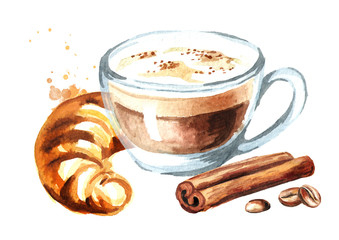 Coffee cappuccino with traditional french croissant, cinnamon and coffee beans. Watercolor hand drawn illustration, isolated on white background