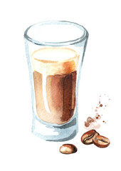 Coffee latte with coffee beans. Watercolor hand drawn illustration, isolated on white background