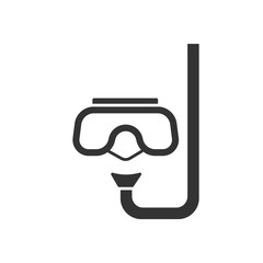 Black isolated icon of snorkel and mask for diving on white background. Icon of mask and snorkel.