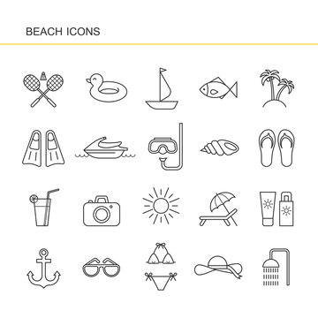 Isolated black outline collection icon of cocktail, badminton, flippers, hat, jet ski, sunglasses, shell, sailboat, anchor, ring rubber, palm, sunscreen, swimsuit photo camera. Set of line beach icon.