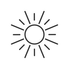 Black isolated outline icon of sun on white background. Line Icon of sun.