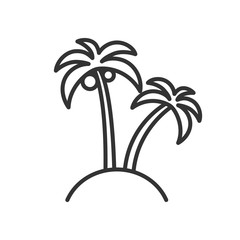 Black isolated outline icon of palms on white background. Line Icon of palm.