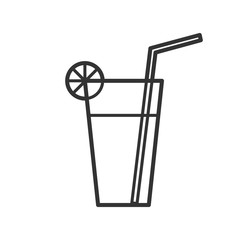 Black isolated outline icon of cocktail on white background. Line Icon of cocktail.
