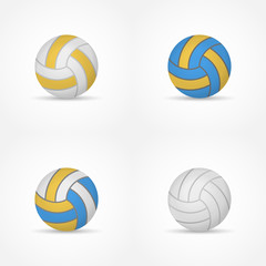 Set of volleyballs isolated on white background. Colorful balls vector illustration.