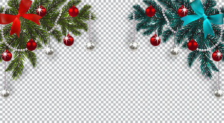 New Year. Christmas. A green and blue branch of a Christmas tree with toys with a shadow. Corner drawing. Blue and red bow, silver and red balls on a checkered background. illustration