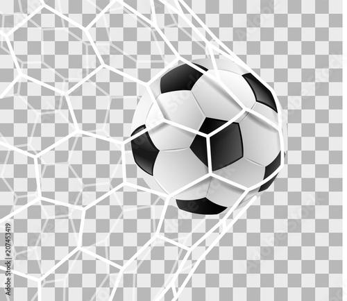 Fußball Im Tor Netz Isoliert Transparenter Hintergrund Stockfotos