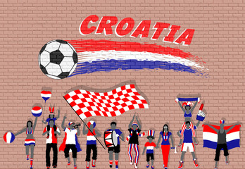 Croatian football fans cheering with Croatia flag colors in front of soccer ball graffiti