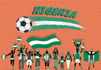 Nigerian football fans cheering with Nigeria flag colors in front of soccer ball graffiti