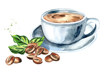 Cup of natural coffee with coffee beans and green leaves. Watercolor hand drawn illustration, isolated on white background