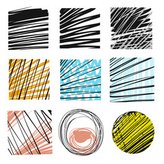Set of hand-drawn marker lines