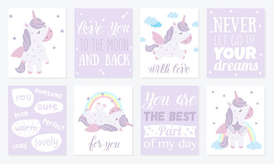 Vector set of postcards with cute unicorn