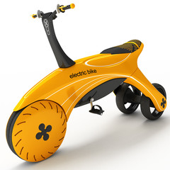 A sports tricycle with an electric motor.