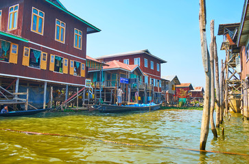 The narrow water street of Inpawkhon village on Inle Lake, Myanmar