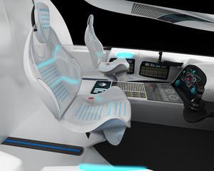 Futuristic interior design of the pilot cabin supersonic aircraft business class.