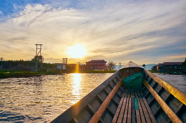 Sailing into the sunset on Inle Lake, Myanmar