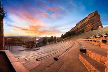 A panoramic of Red Rocks Park during sunrise, near Denver Colorado