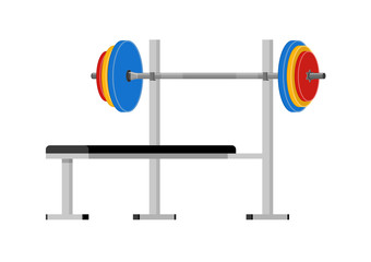 Vector illustration. Bench with barbell.