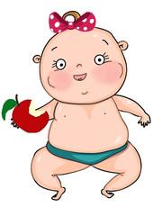 cute baby girl eating apple  cartoon mascot